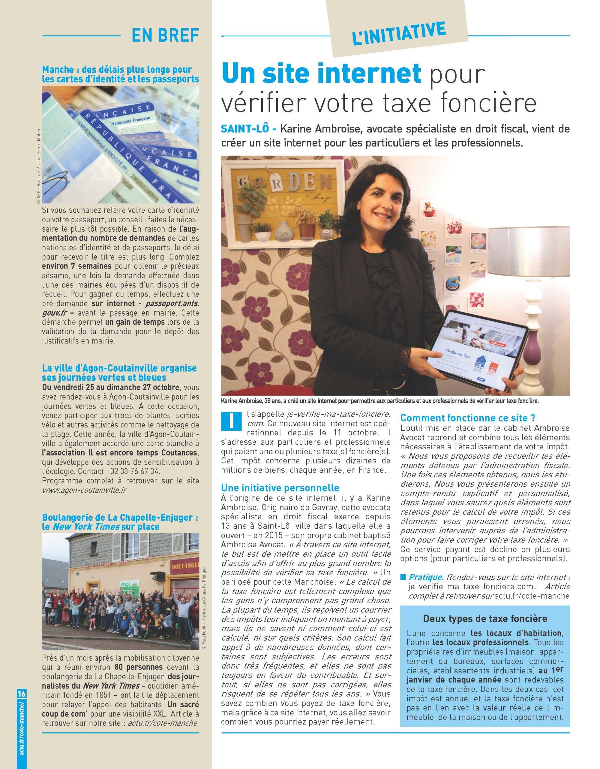 Ouverture en septembre 2019 du site je vérifie ma taxe foncière par Karine AMBROISE Avocat Spécialiste en droit fiscal