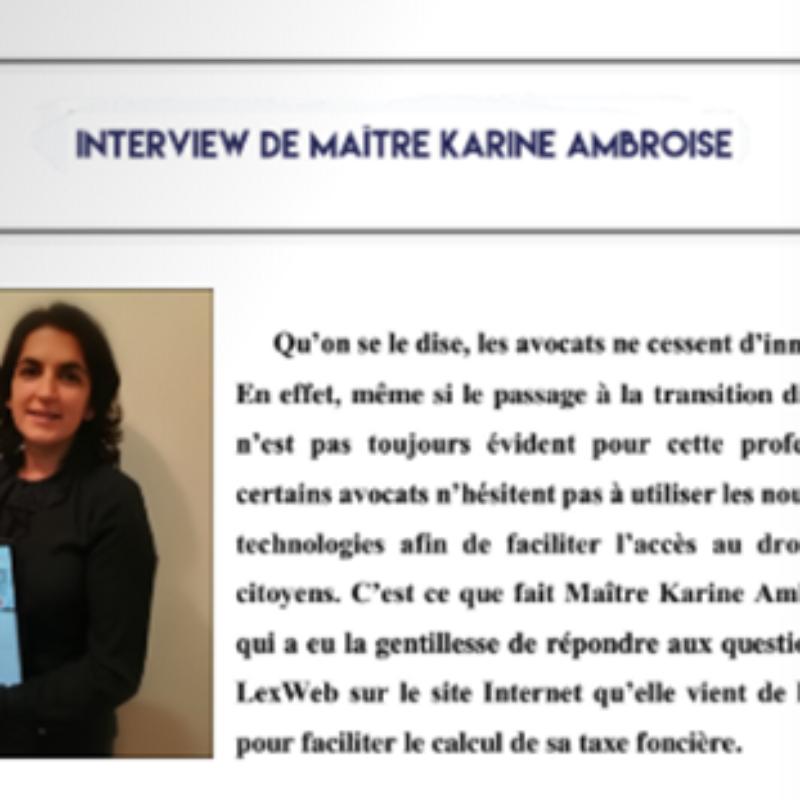 INTERVIEW LEXWEB Karine AMBROISE fondatrice du site Je vérifie ma taxe foncière